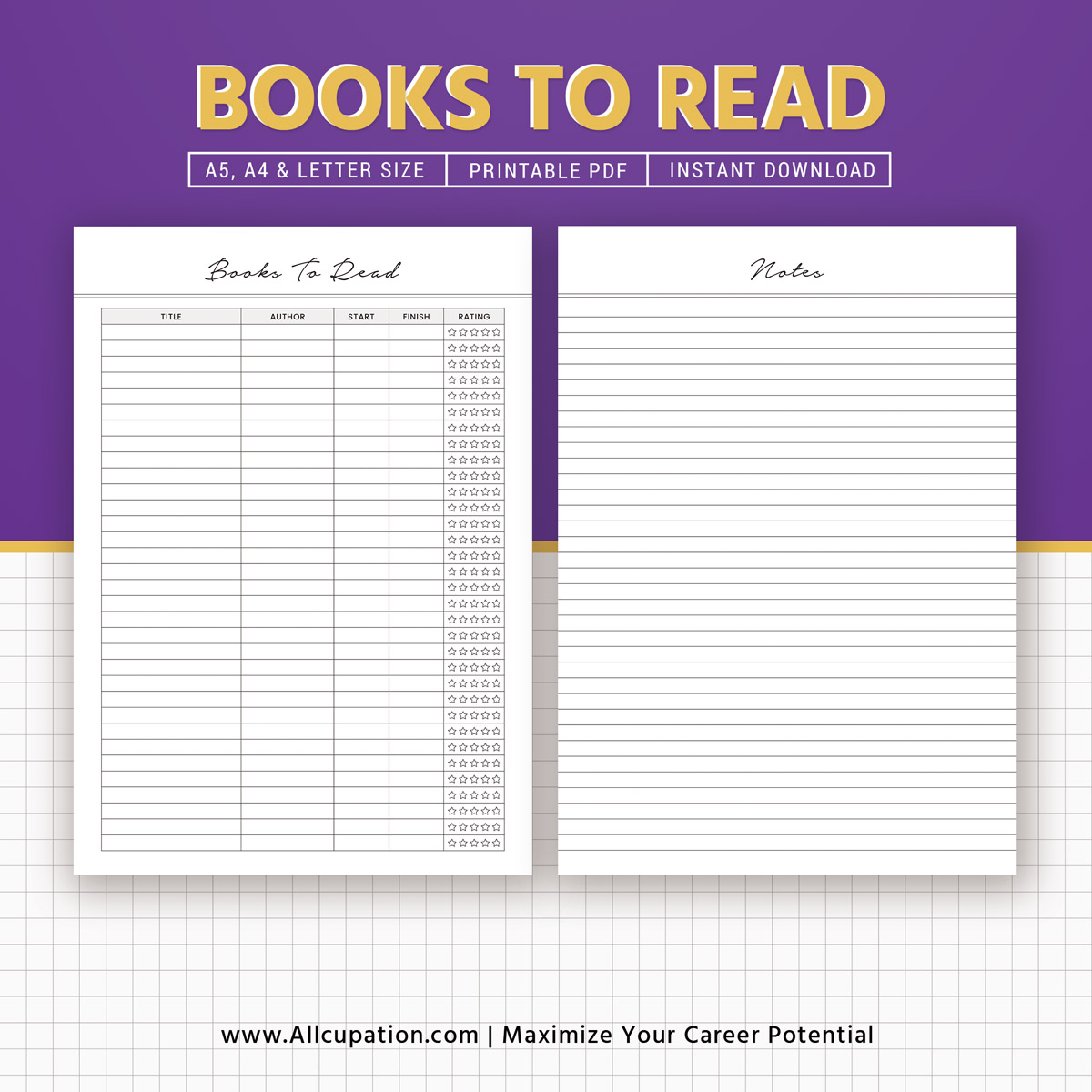 books to read insert  reading list printable  a5 planner