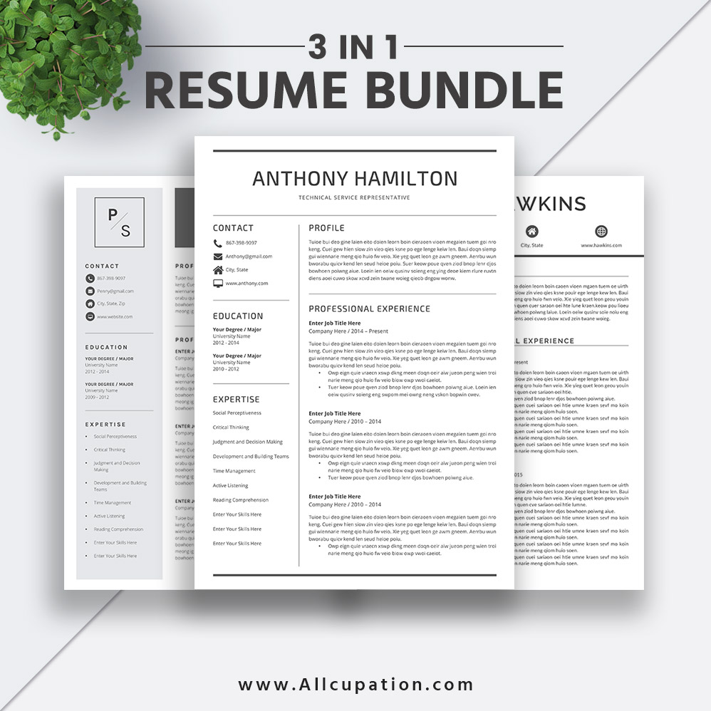 2019 Best Selling Resume Bundle The Anthony RB Professional Simple Template Word CV Cover Letter Creative Design Instant Download