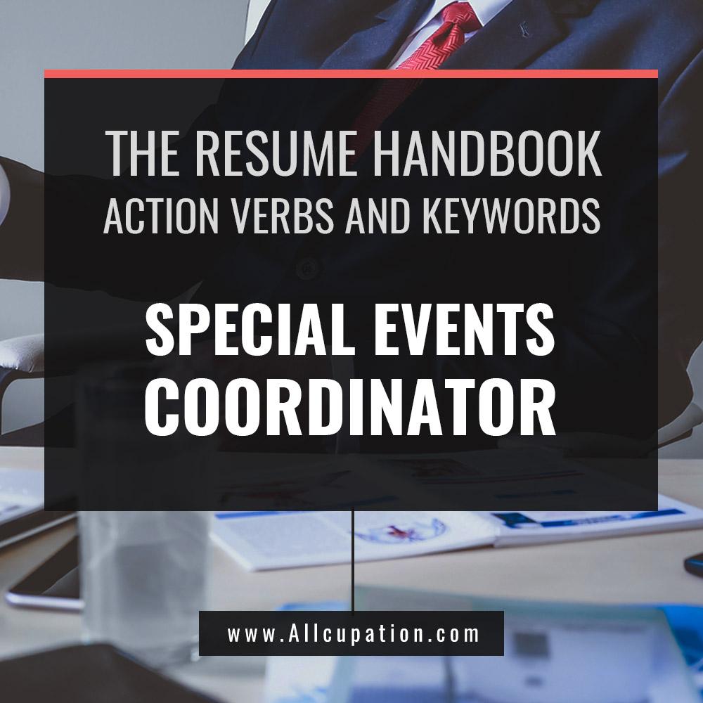 the resume handbook  special events coordinator resume