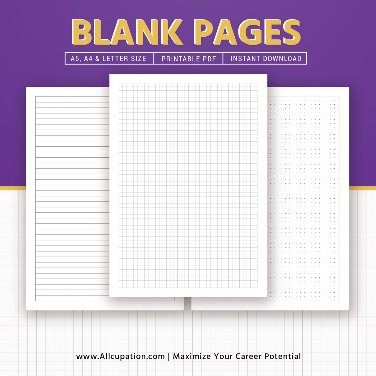 image regarding Free Planner Refills Printable named Printable Blank Planner, Blank Web pages, Sq. Grid, Dominated, Planner Inserts, A5, A4, Letter, Planner Refills, Planner Style, Least difficult Planner, Immediate