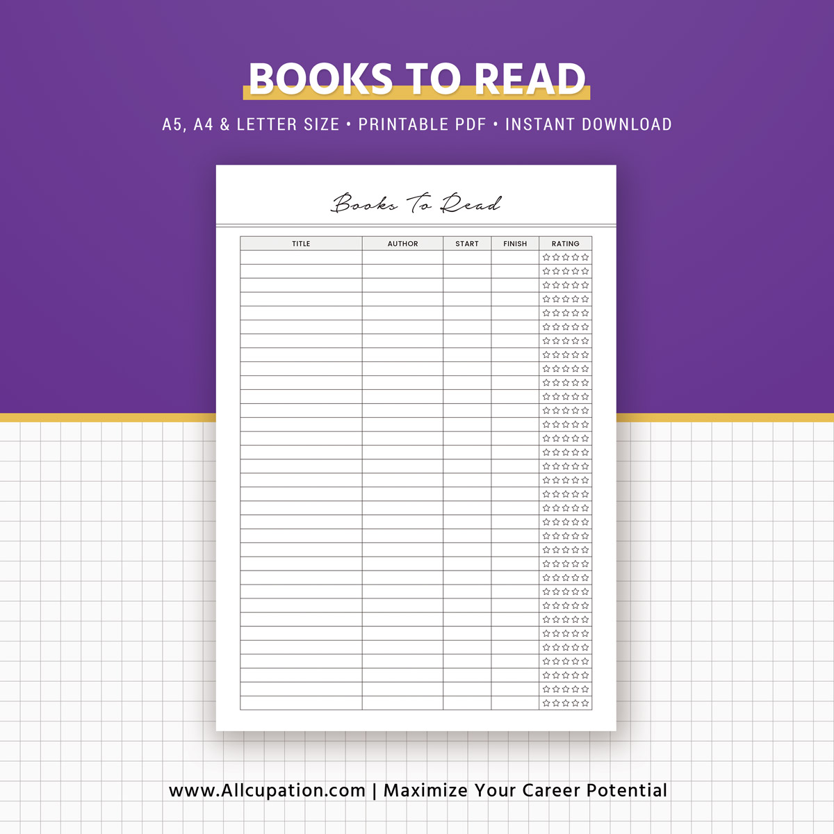 books to read insert  reading list printable  planner