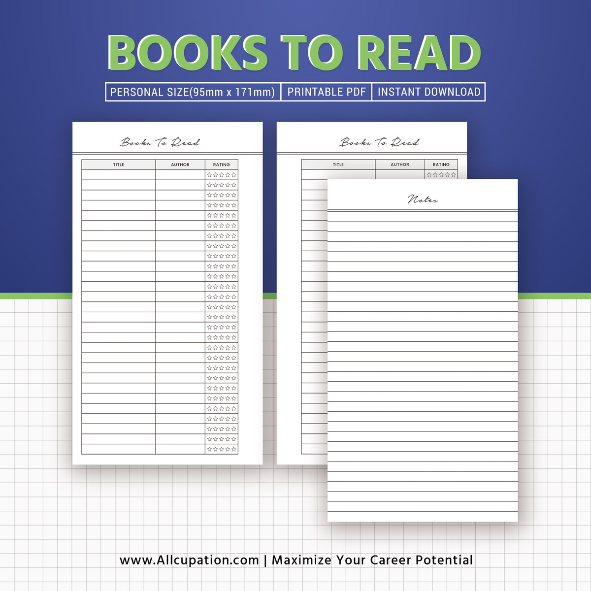personal size books to read insert  reading list printable