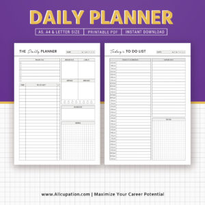 daily planner daily schedule to do list printable planner a5 planner inserts a4 letter size filofax a5 instant download pdf