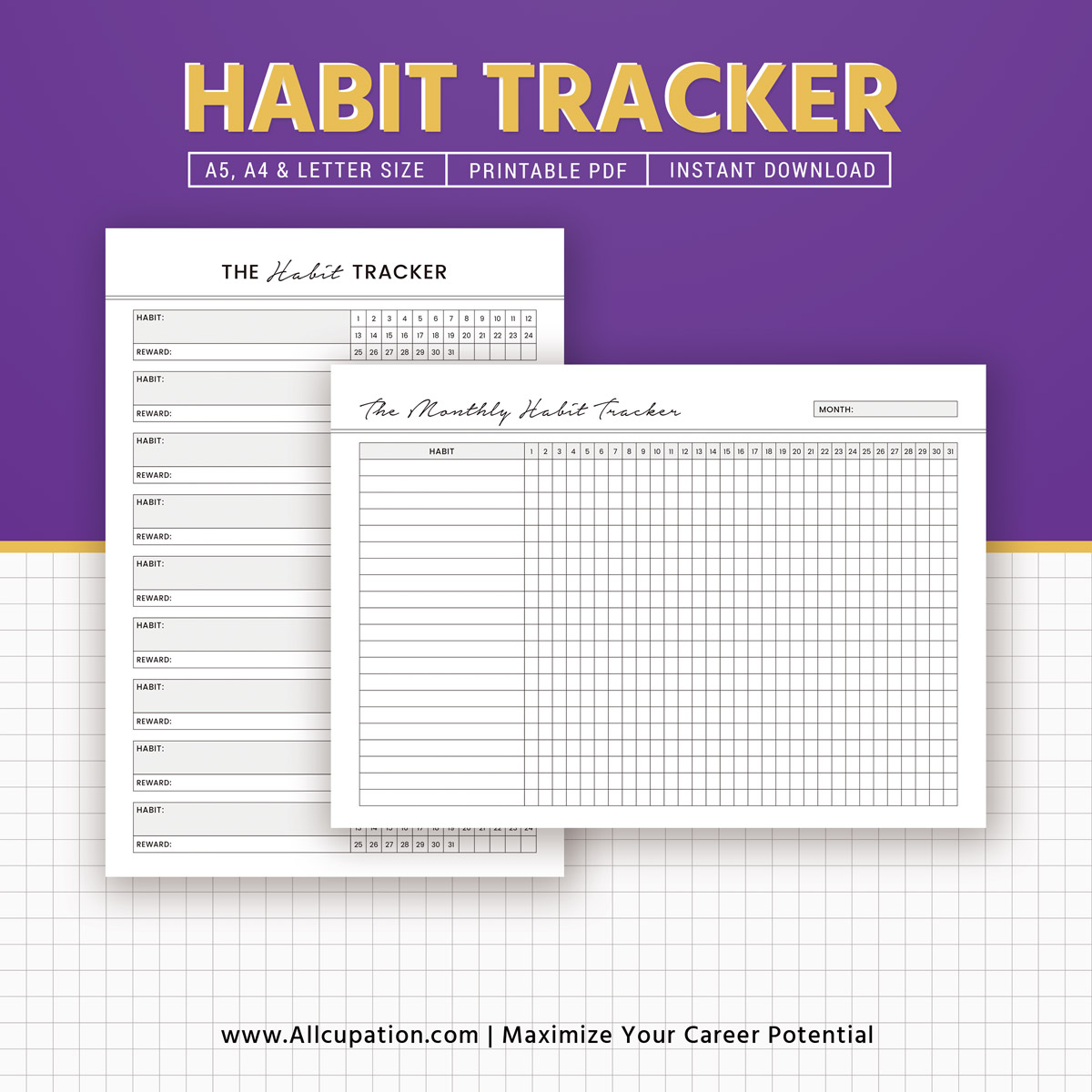 printable habit tracker  monthly habit tracker inserts
