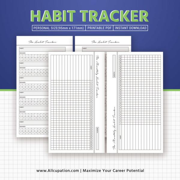 Habit Tracker, Monthly Habit Tracker Inserts, Habit ...