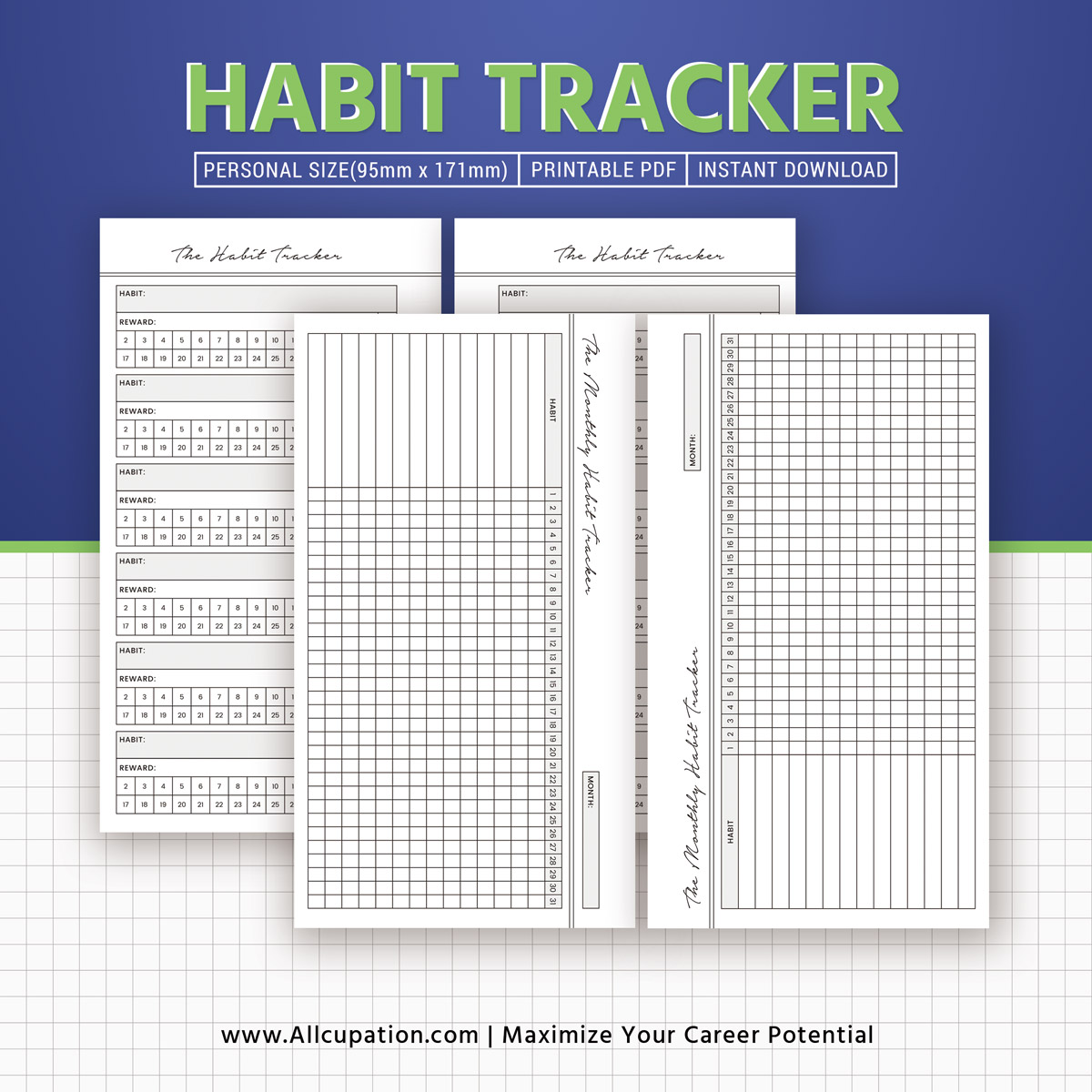2020 Habit Tracker Monthly Habit Tracker Inserts Habit Planner Planner Design Best Planner Personal Size Printable Planner Planner Pages Filofax Personal Allcupation Optimized Resume Templates For Higher Employability