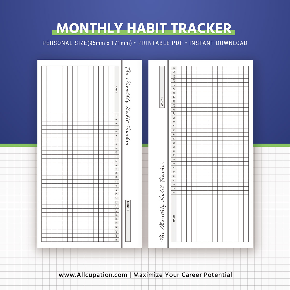 Habit Tracker, Monthly Habit Tracker Inserts, Habit ...
