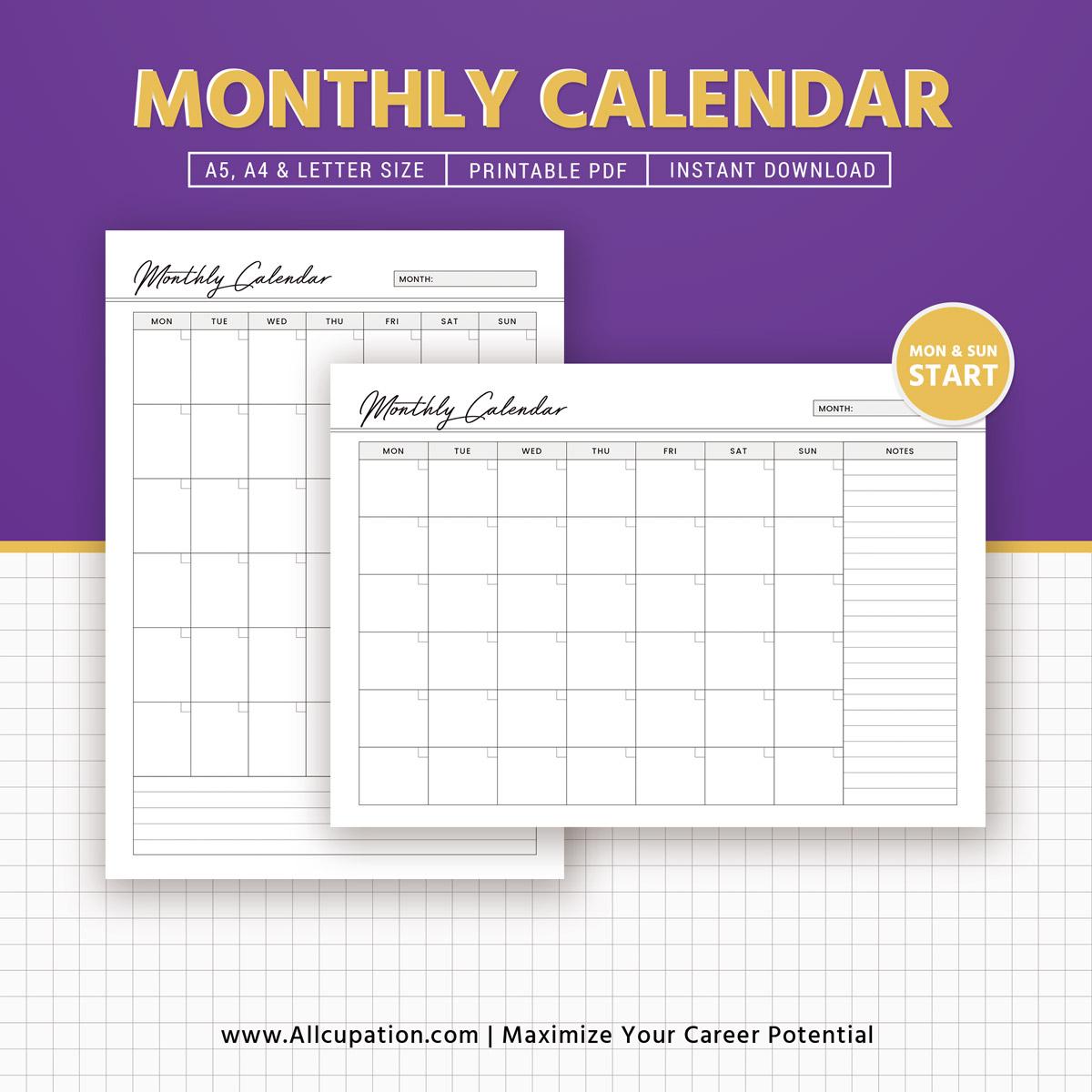 Monthly Calendar 2019 Calendar A5 Planner Inserts A4 Letter
