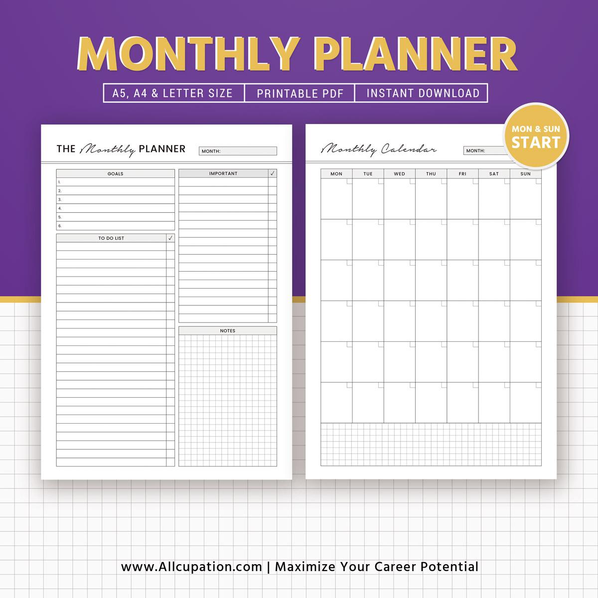 Calendar Monthly Planner : Monthly planner calendar a