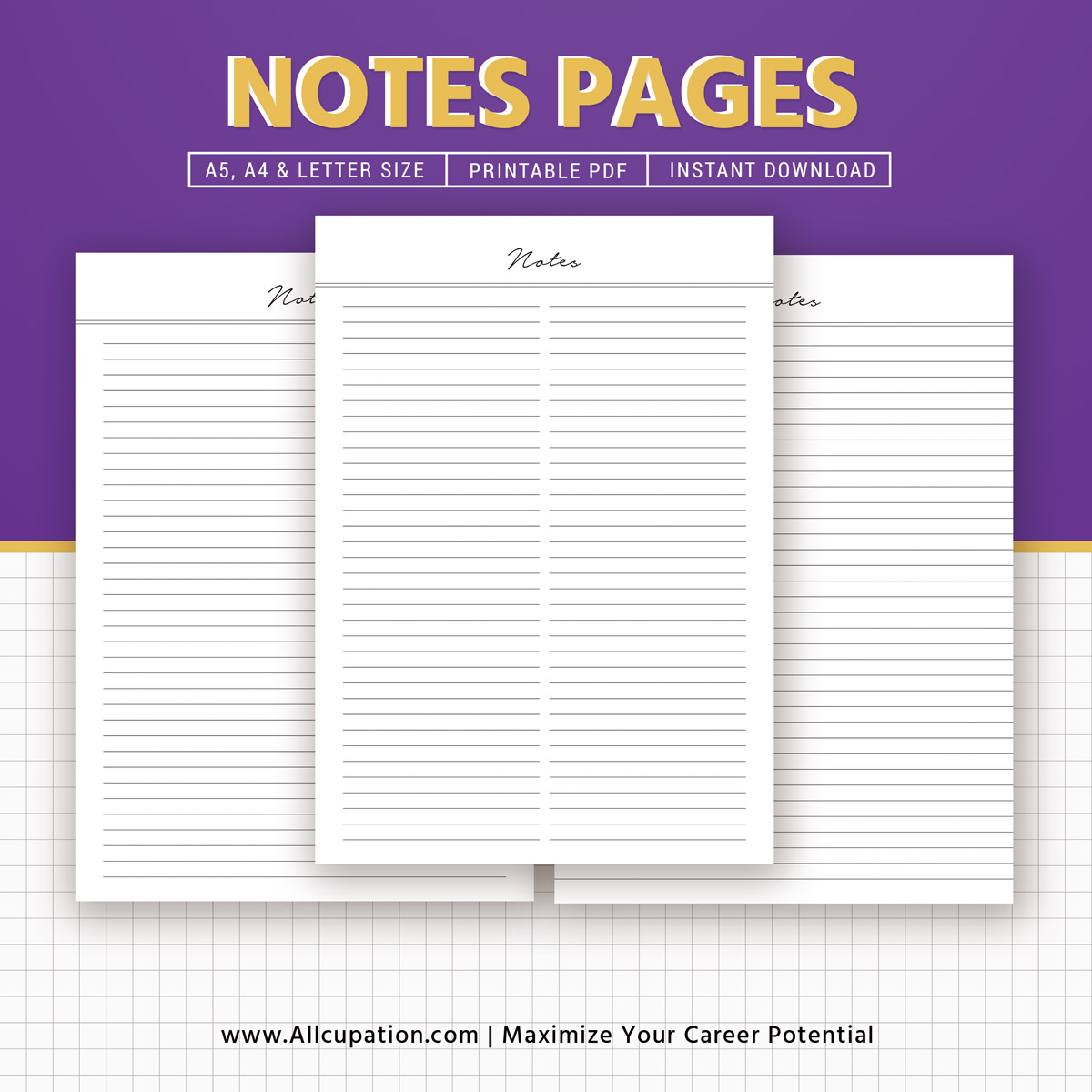 Notes Printable Lined Notes Inserts Notepad Notebook Planner Design Planner Pages A4 Letter Filofax A5 Kikki K Large Instant Download