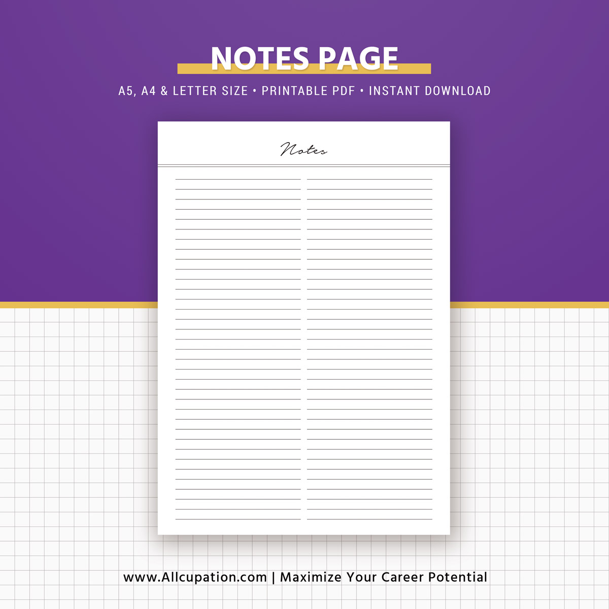 Notes Printable, Lined Notes Inserts, Notepad, Notebook ...
