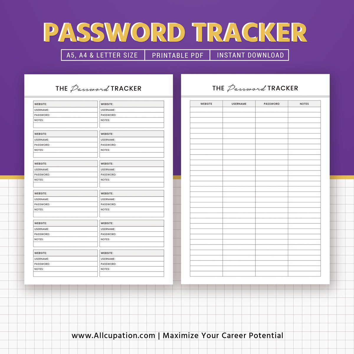 Password Tracker Printable Password Keeper Password Log A5