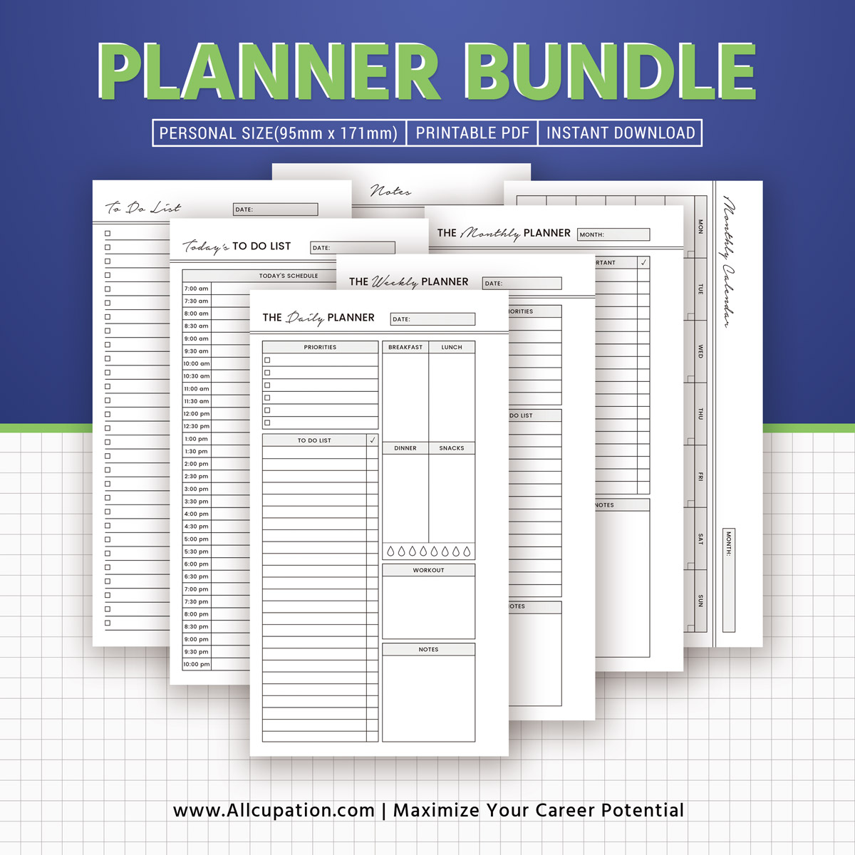 2019 Planner Bundle Printable Personal Size Inserts Daily Weekly