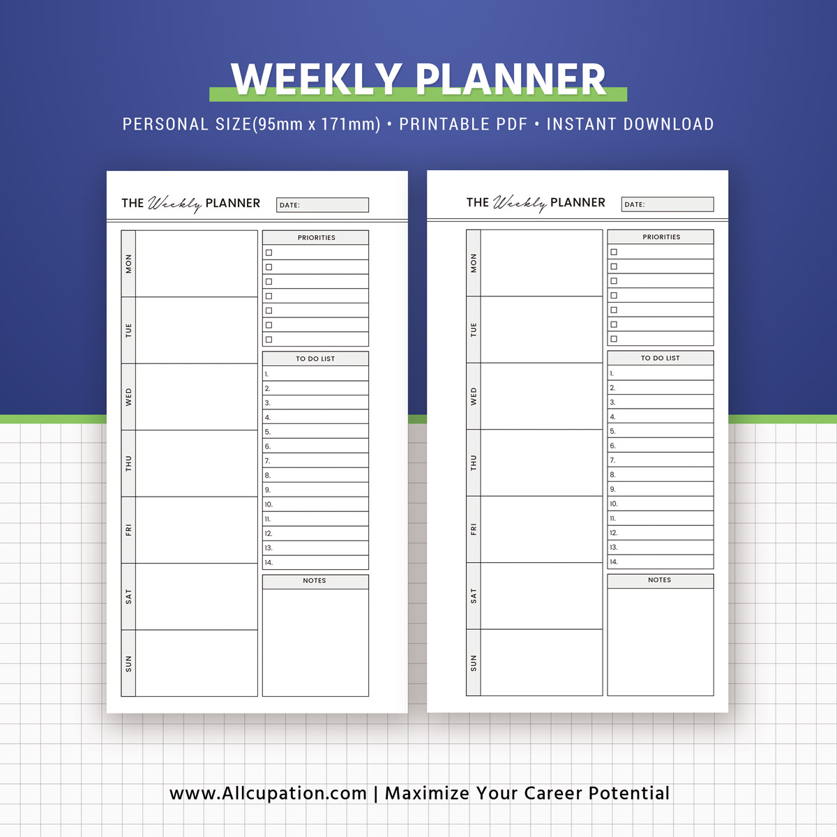 2019 planner bundle  printable personal size inserts  daily  weekly  monthly planner  notes