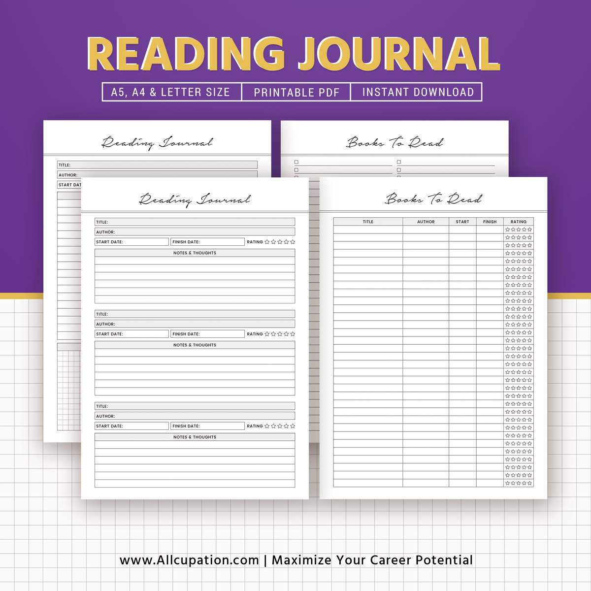 It is a photo of Handy Reading Journal Printable