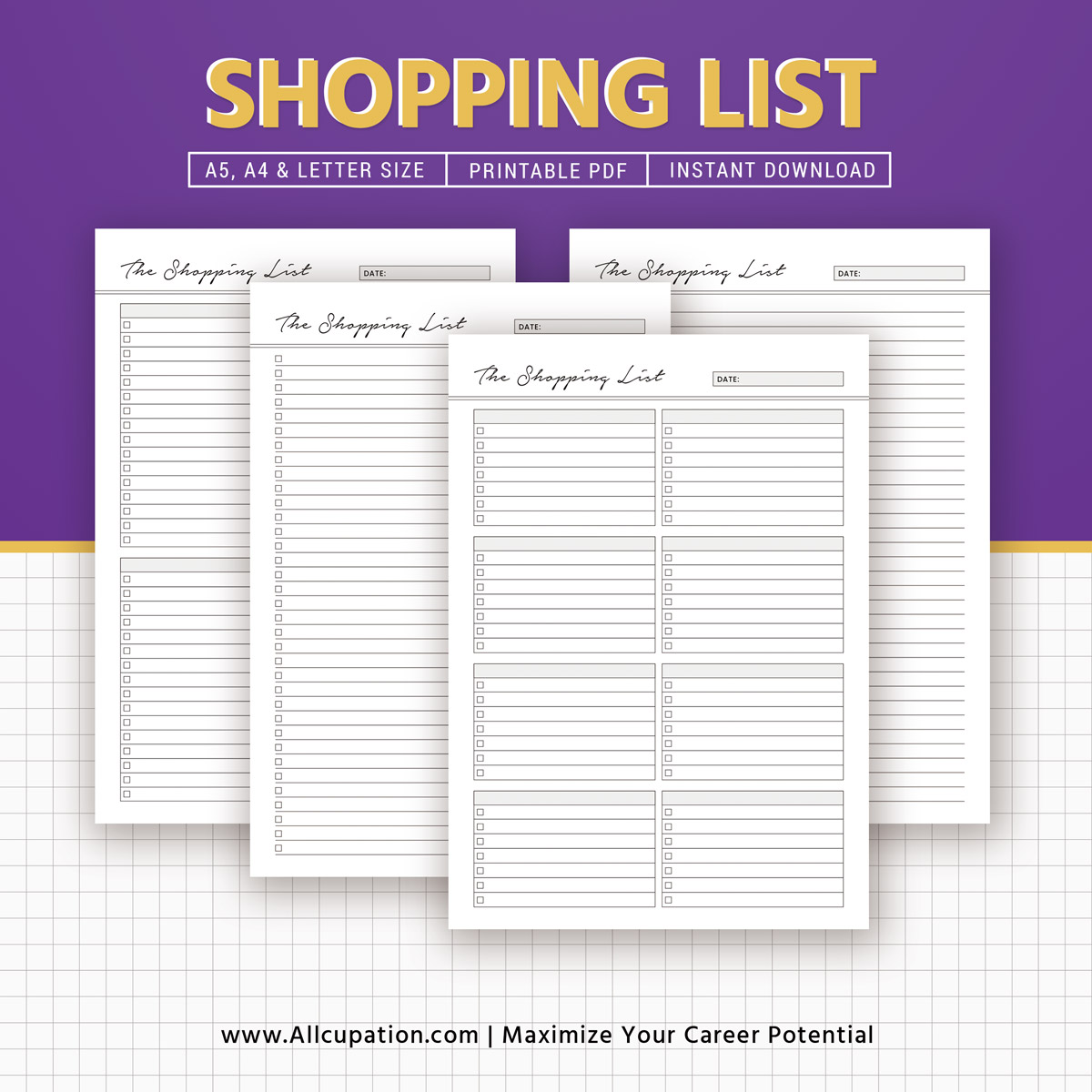 Shopping List Inserts, Grocery List, Printable Planner, To Do List ...
