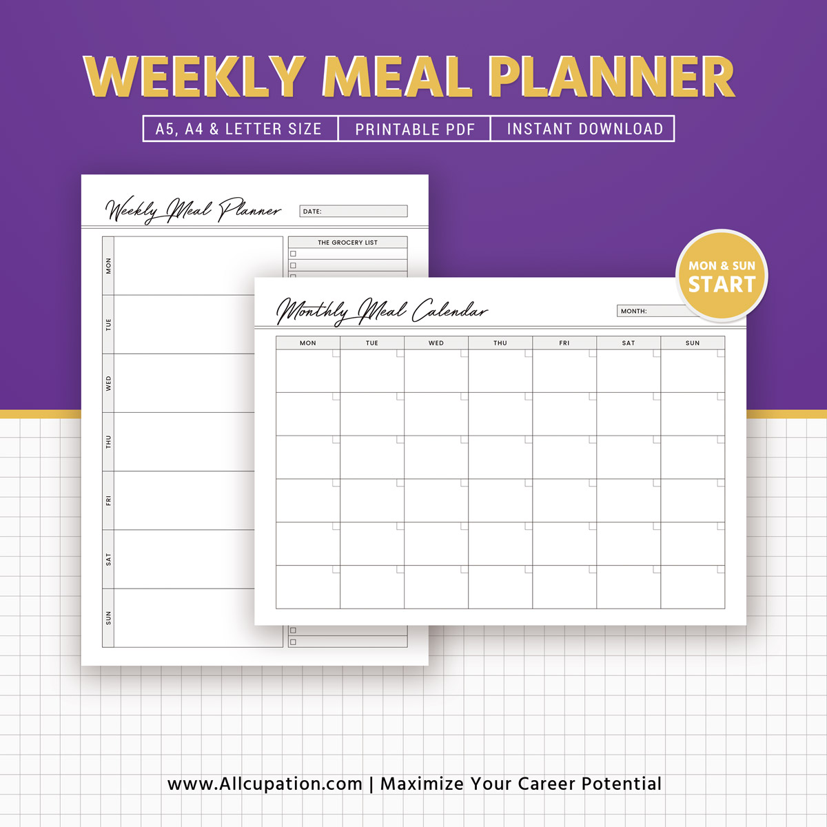 weekly meal planner inserts  menu planner printable  meal calendar  planner design  best planner