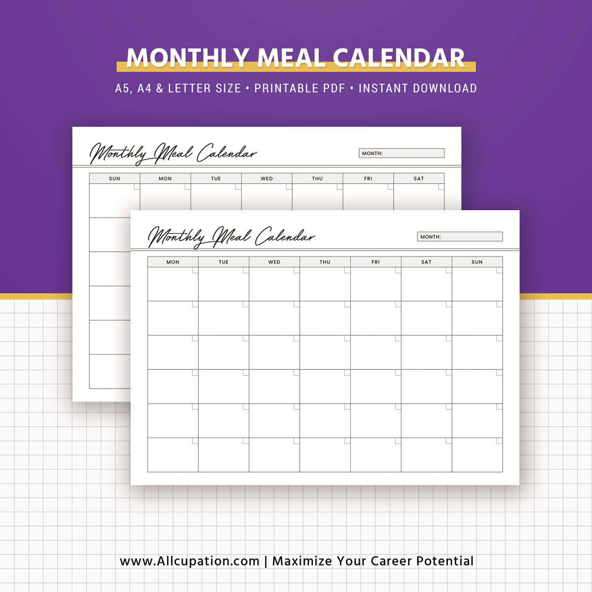 weekly meal planner inserts  menu planner printable  meal