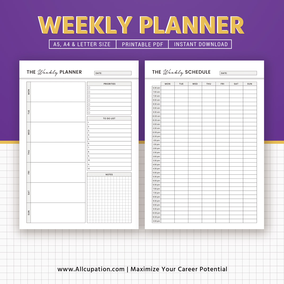 image relating to Weekly Agenda Printable titled Printable Weekly Planner 2019, Weekly Agenda, Weekly Organizer, A5 Inserts, A4, Letter Dimension, Planner Laptop computer, Planner Style and design, Perfect Planner, Filofax