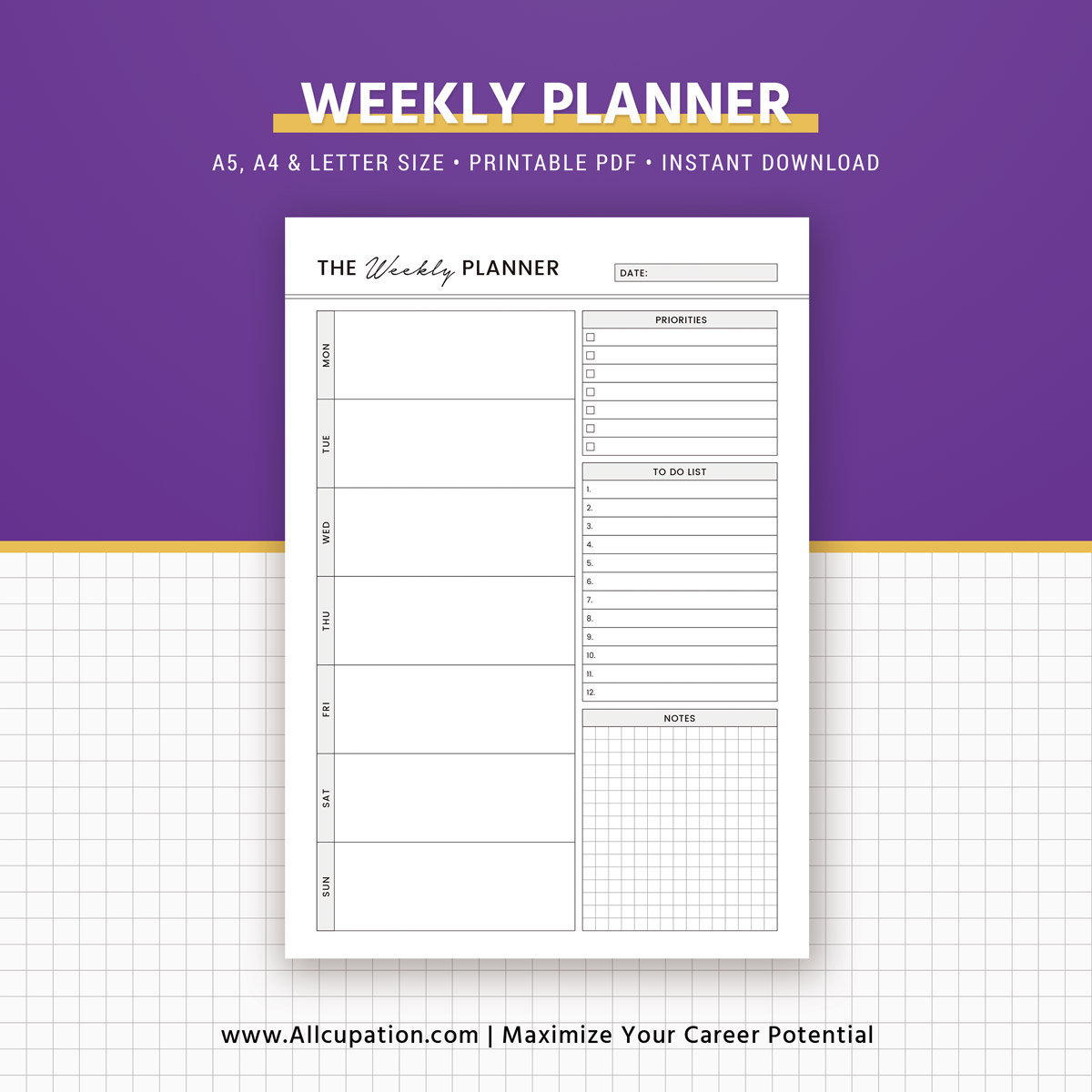 Printable Weekly Planner 2019