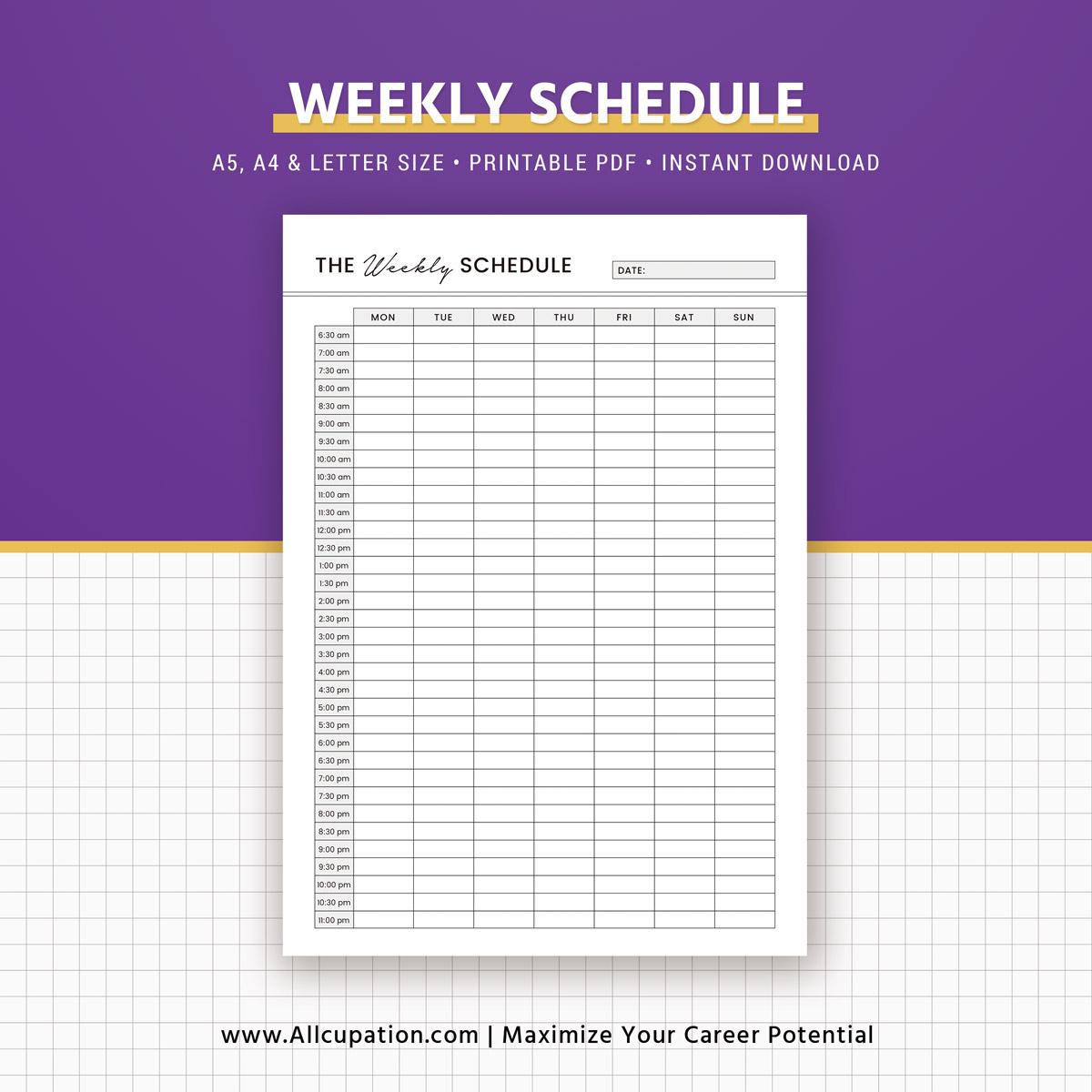 printable weekly planner 2019  weekly schedule  weekly