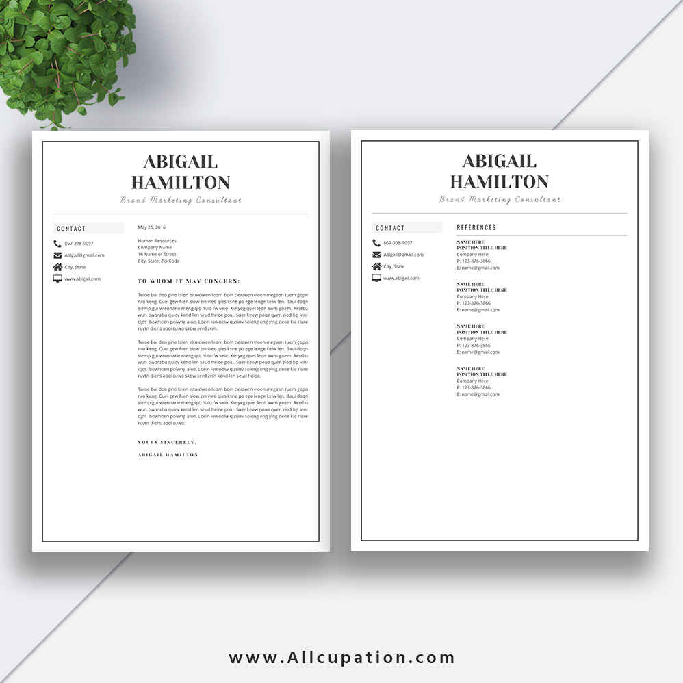 Professional Resume Template Bundle Cover Letter Cv: Best-selling Resume Bundle The Georgia RB: Simple Resume