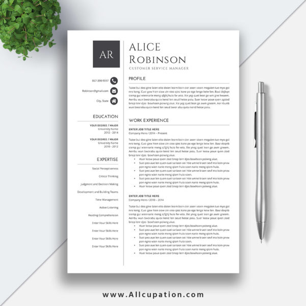 Modern Resume Template For Word 1 3 Page Resume Cover: Modern Resume Template, CV Template, Cover Letter