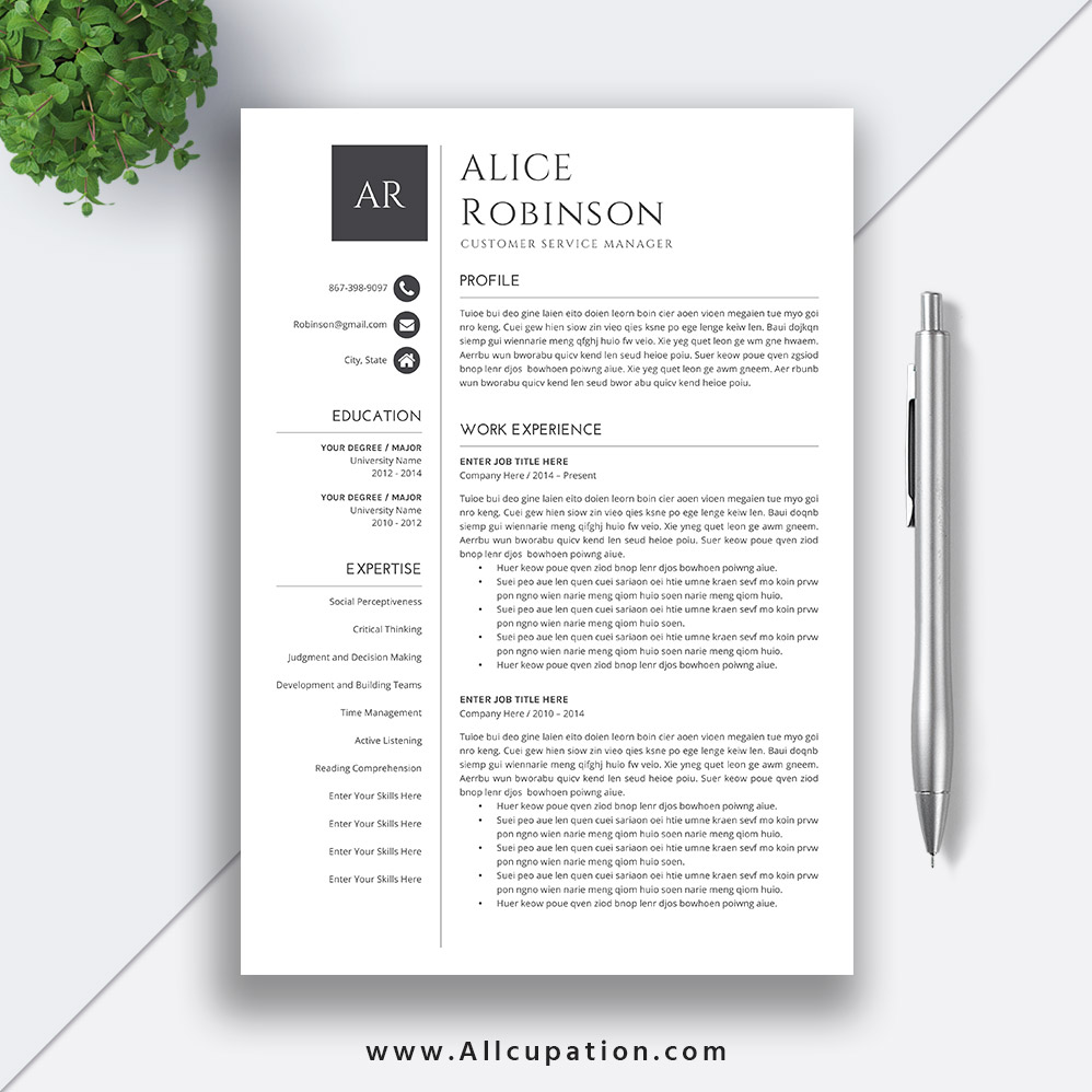 Simple Cv Templates Forjob Application Resume Template Cover Letter References 1 2 3 Page Word Resume Design Elegant Resume Alice