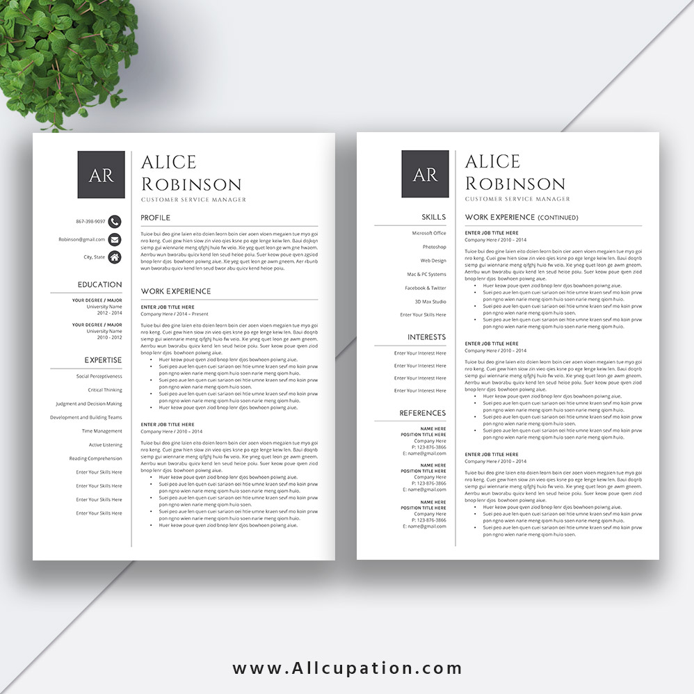 Resume Format Page 2: Simple CV Templates ForJob Application, Resume Template