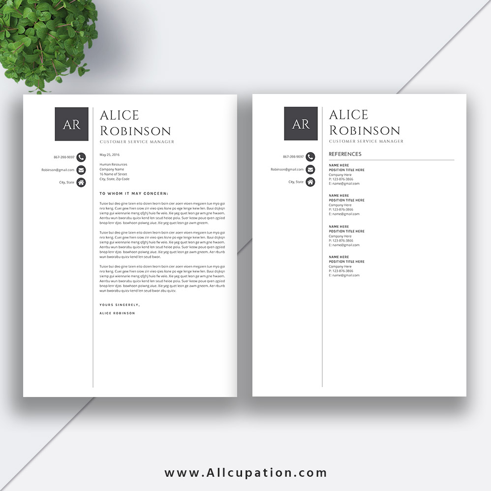 modern resume template cv template cover letter references 1 2