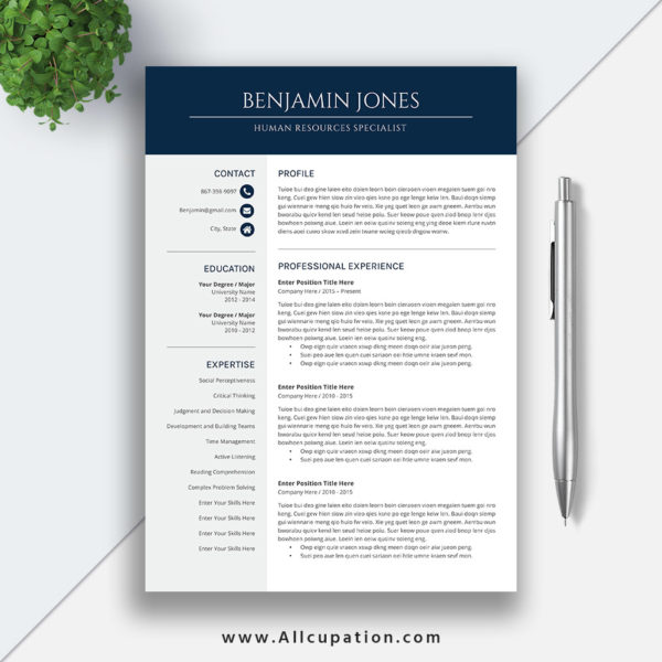 Modern Resume Template For Word 1 3 Page Resume Cover: Professional And Modern Resume Template For MS Office Word