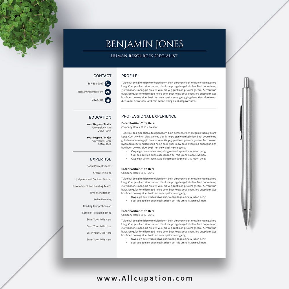 Professional And Modern Resume Template For Ms Office Word With User