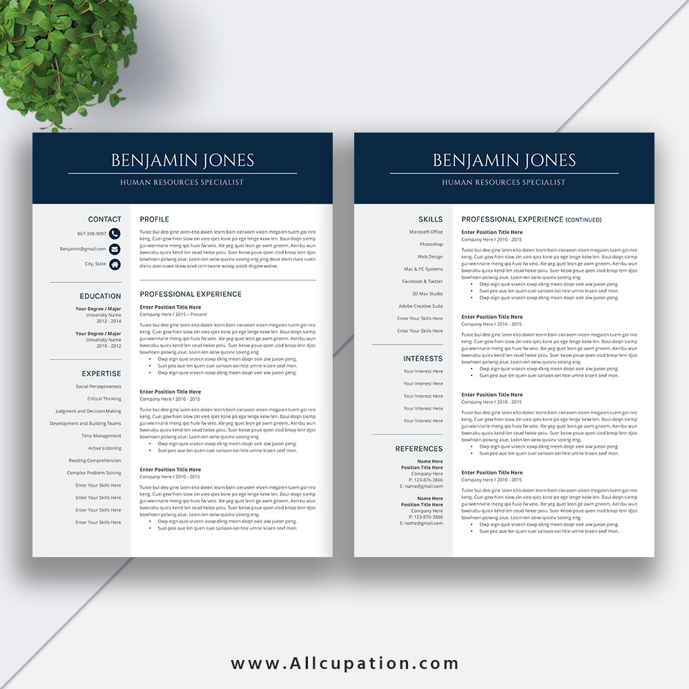 professional and modern resume template for ms office word with user guide and fonts guide for