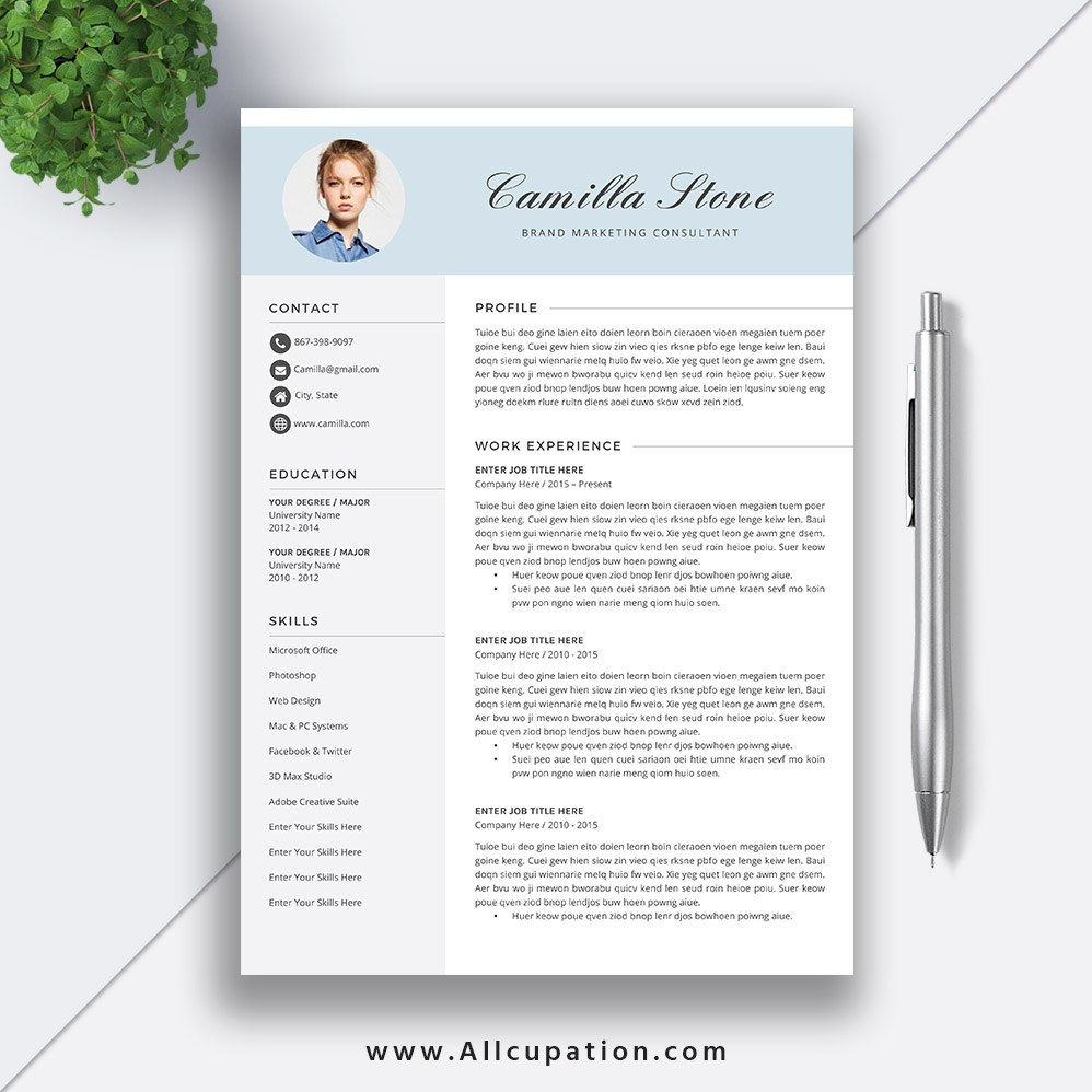 creative resume template 2019  modern cv template  word resume  job resume  cover letter