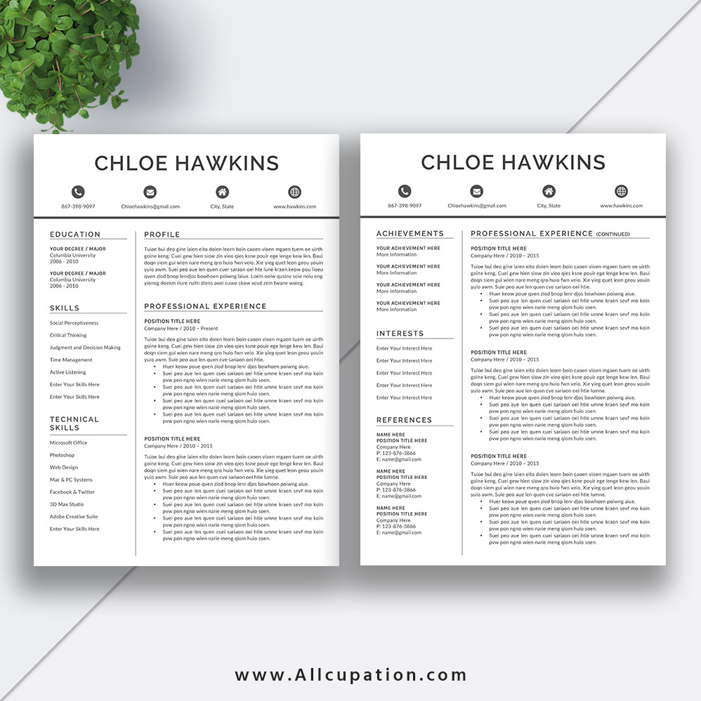 Professional Resume Template, 1, 2, 3 Page, Cover Letter