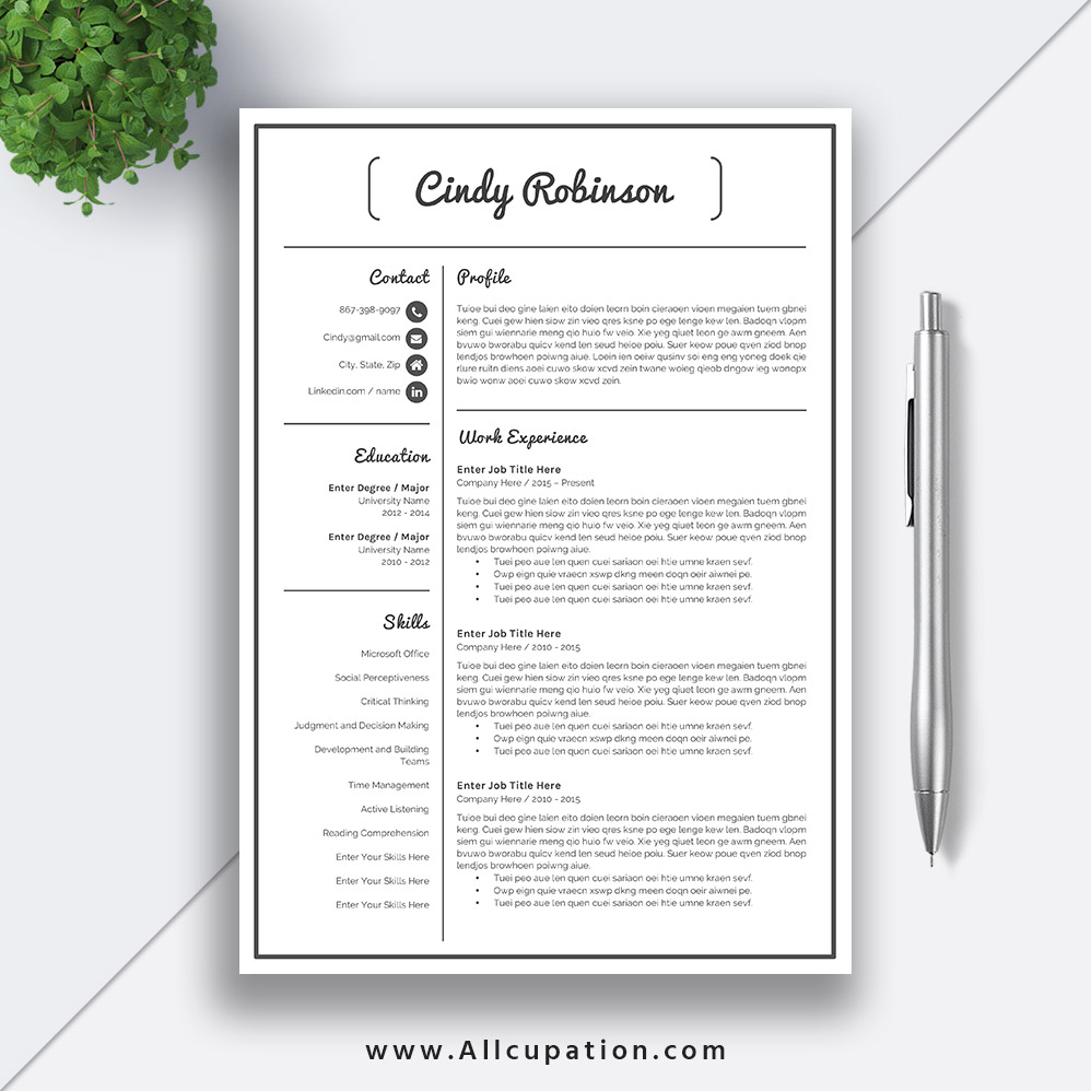 Professional Resume templates for job application, Basic Resume Template  Word, Cover Letter, 1, 2, 3 Page Template, References, CINDY