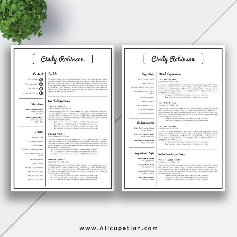Modern Resume Template Cover Letter 1 2 3 Page Template