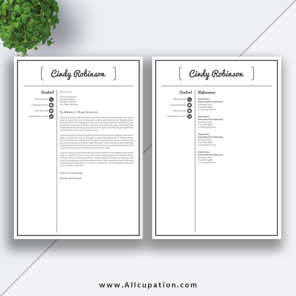 Modern Resume Template, Cover Letter, 1, 2, 3 Page