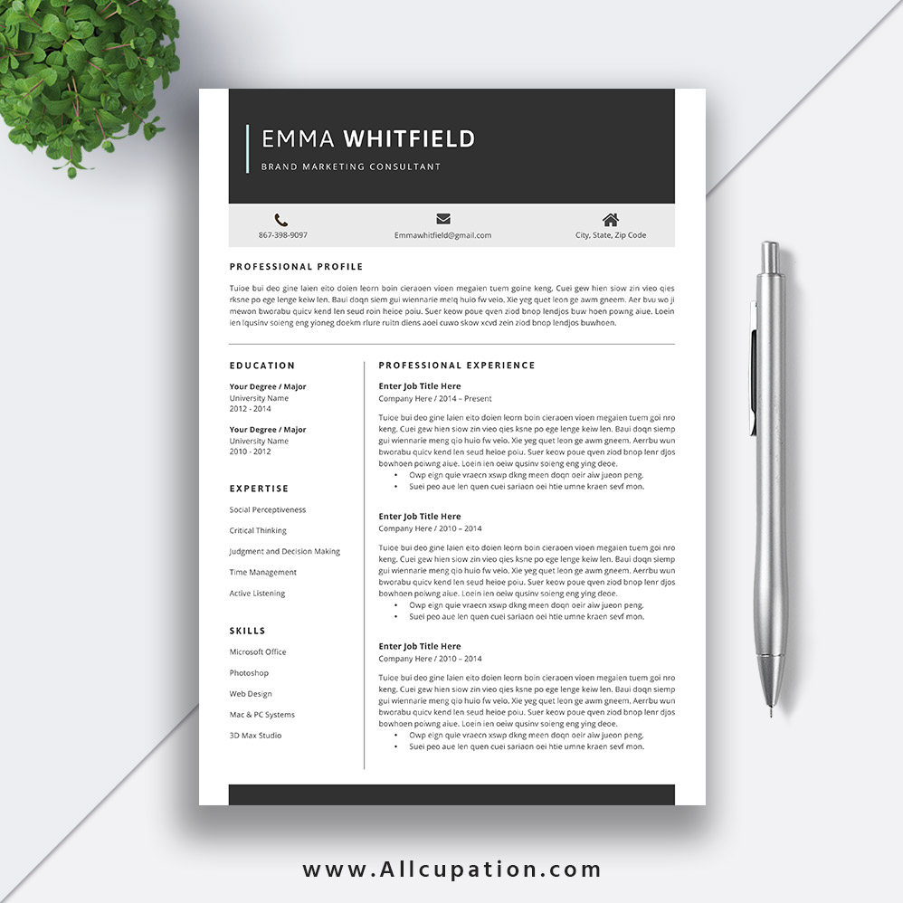 resume templates for job application  creative and professional cv template  cover letter  word