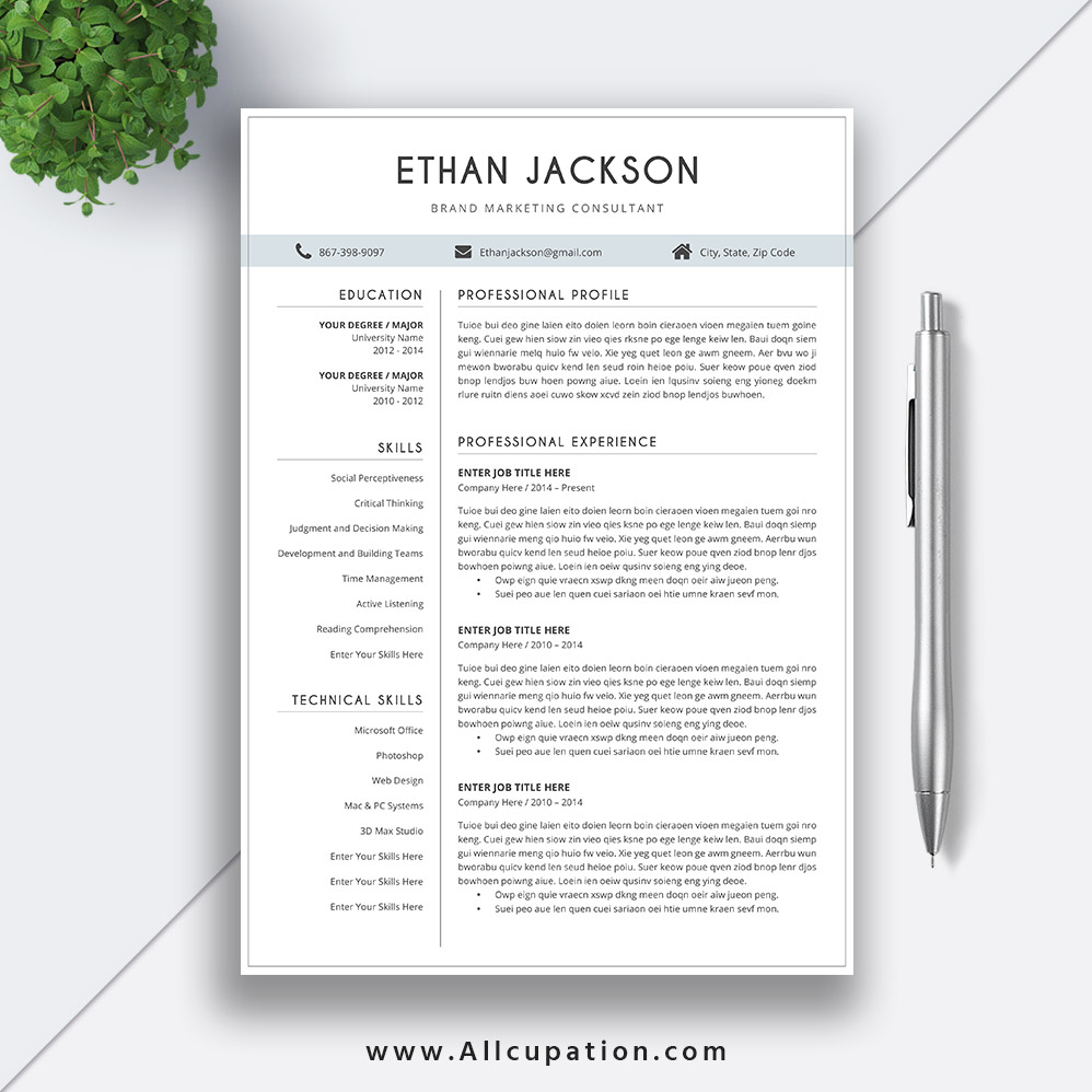 Simple And Elegant Resume Template Word 2019 Creative