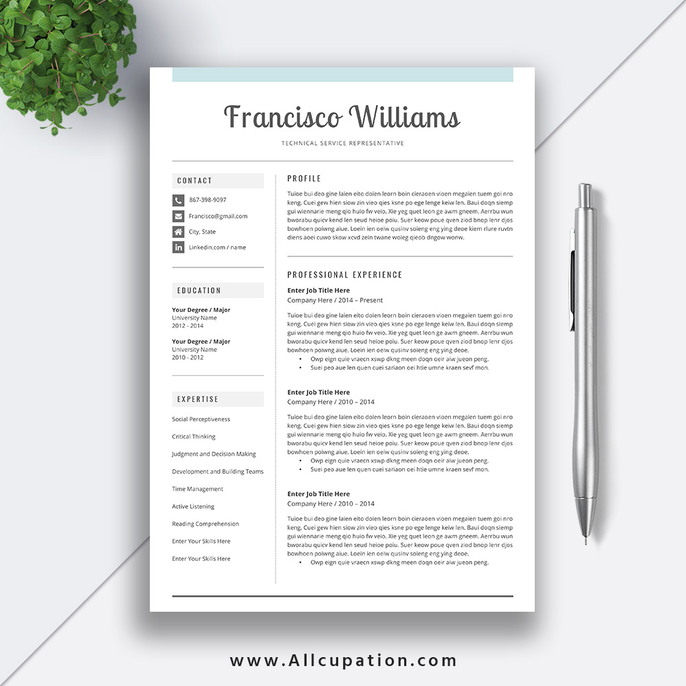 Creative Resume Template, Modern CV Template, Word, Cover Letter, References, Instant Download