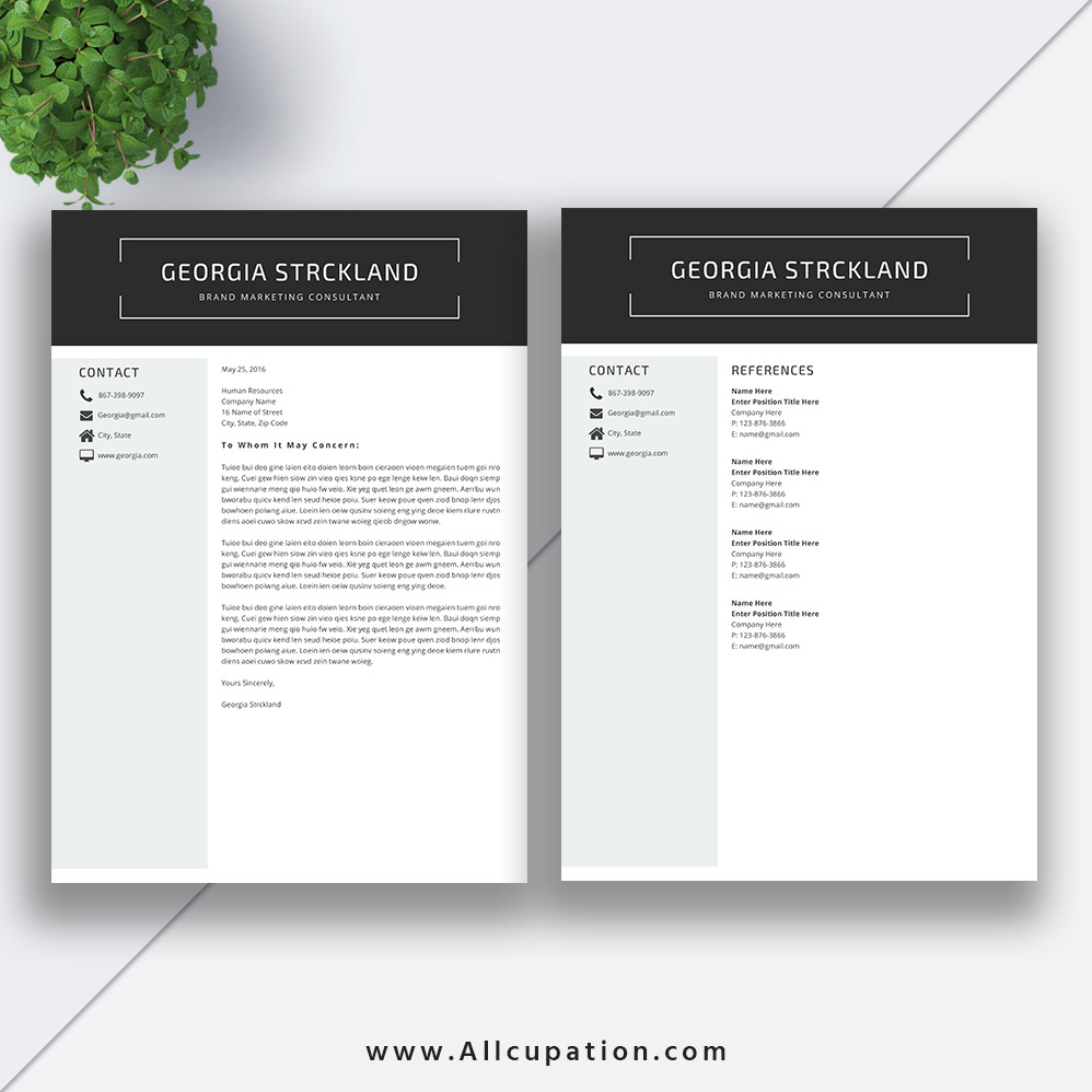 Marketing Istant Cover Letter | 2019 Best Selling Resume Bundle The Georgia Rb Simple Resume Format