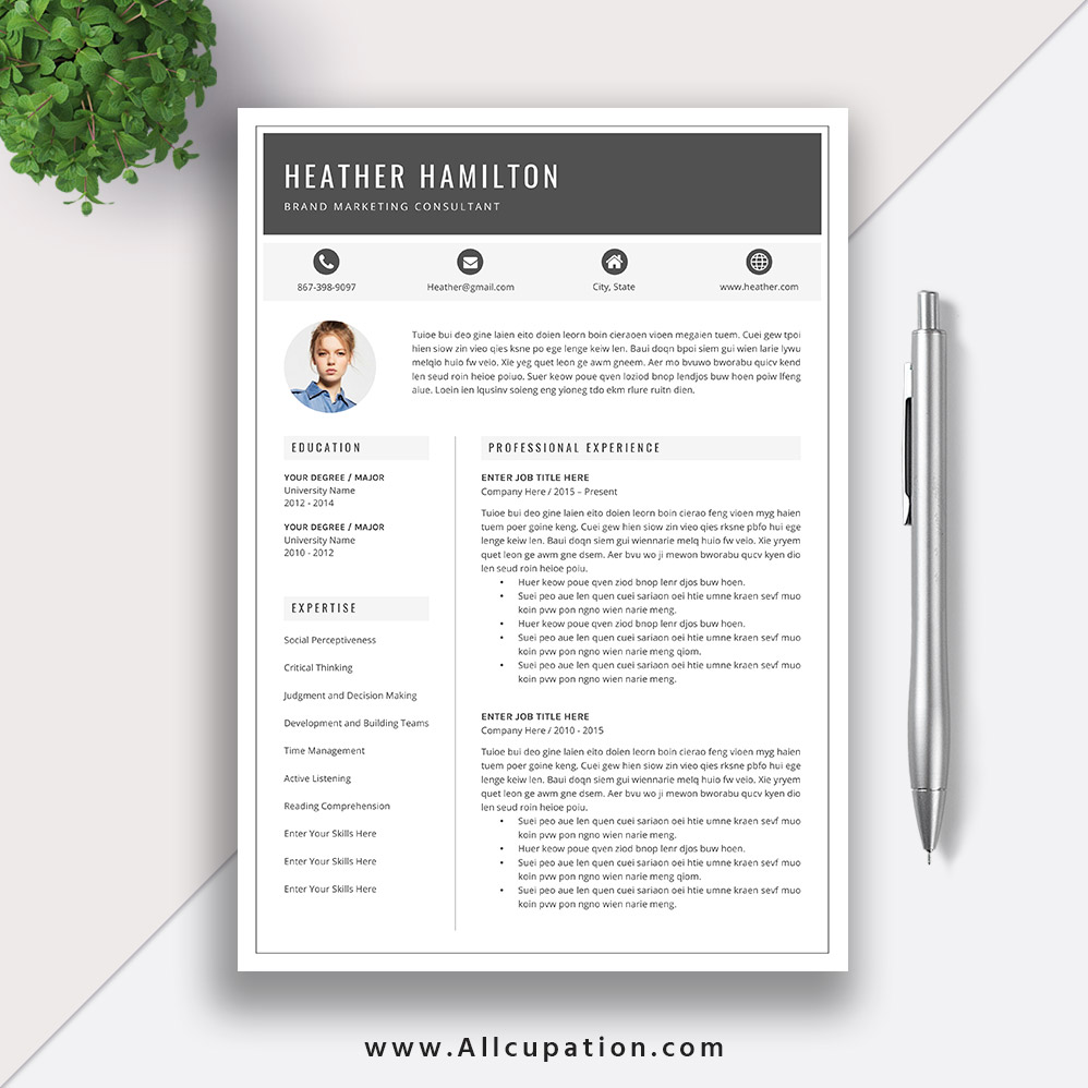 Make ...  1 Page Resume Template