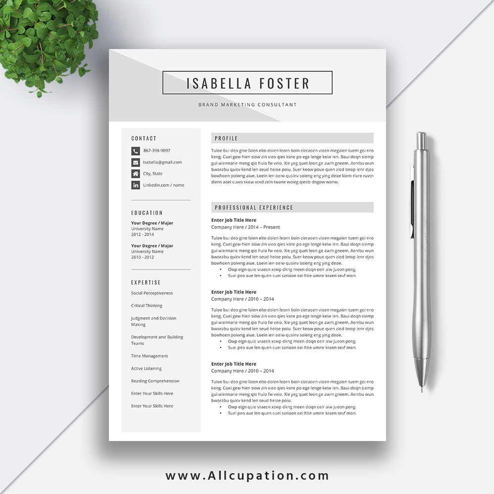 Make A Strong First Impression And Get Job Interview With This Creative Word Resume Template