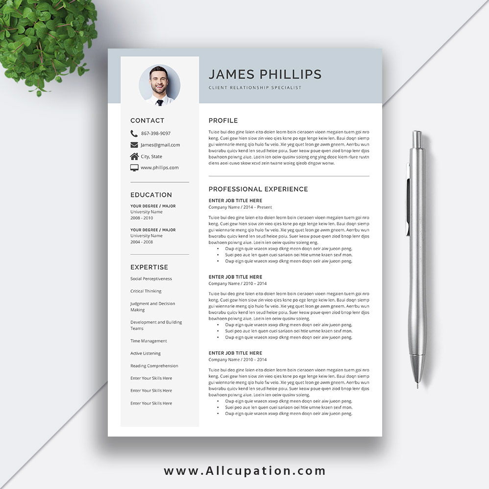 Simple Professional Resume Template 2020 Modern Cv Template Word