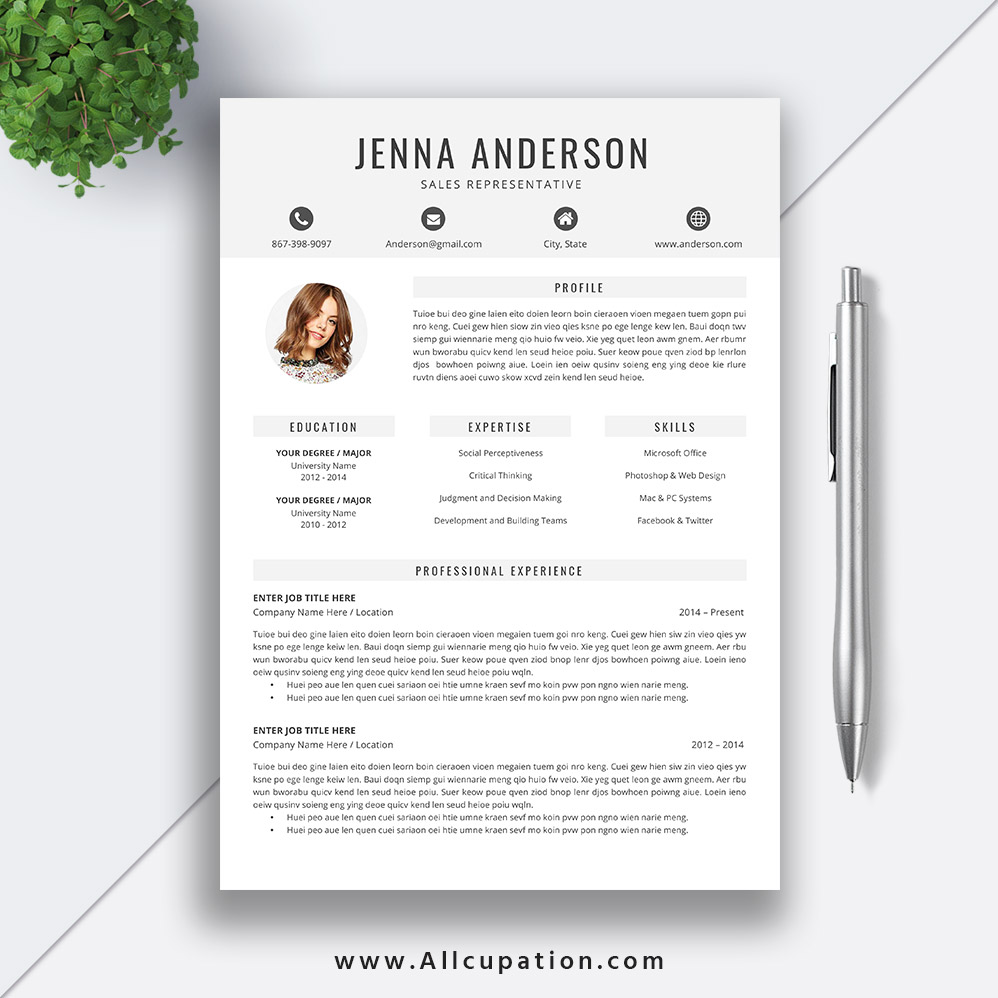Student Resume Template Word 2019 Editable Clean CV Design Cover