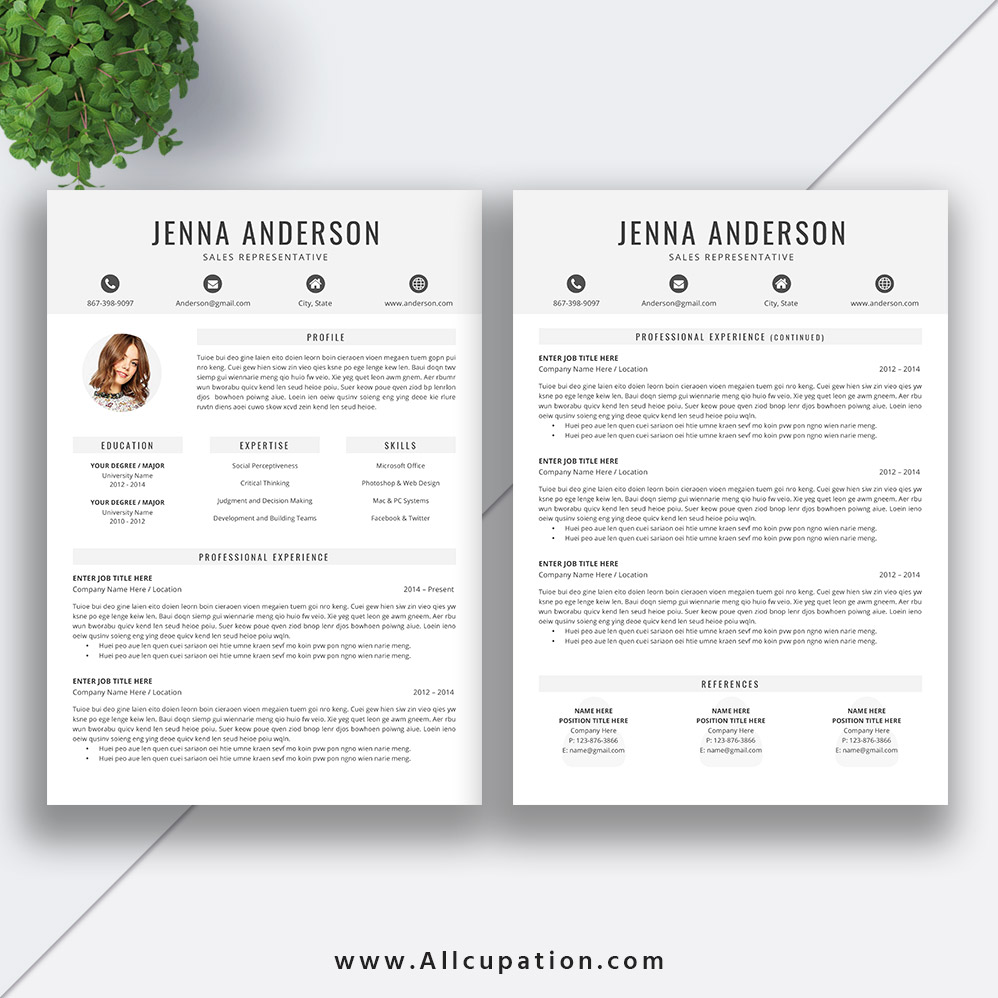 student resume template word 2019  editable clean cv