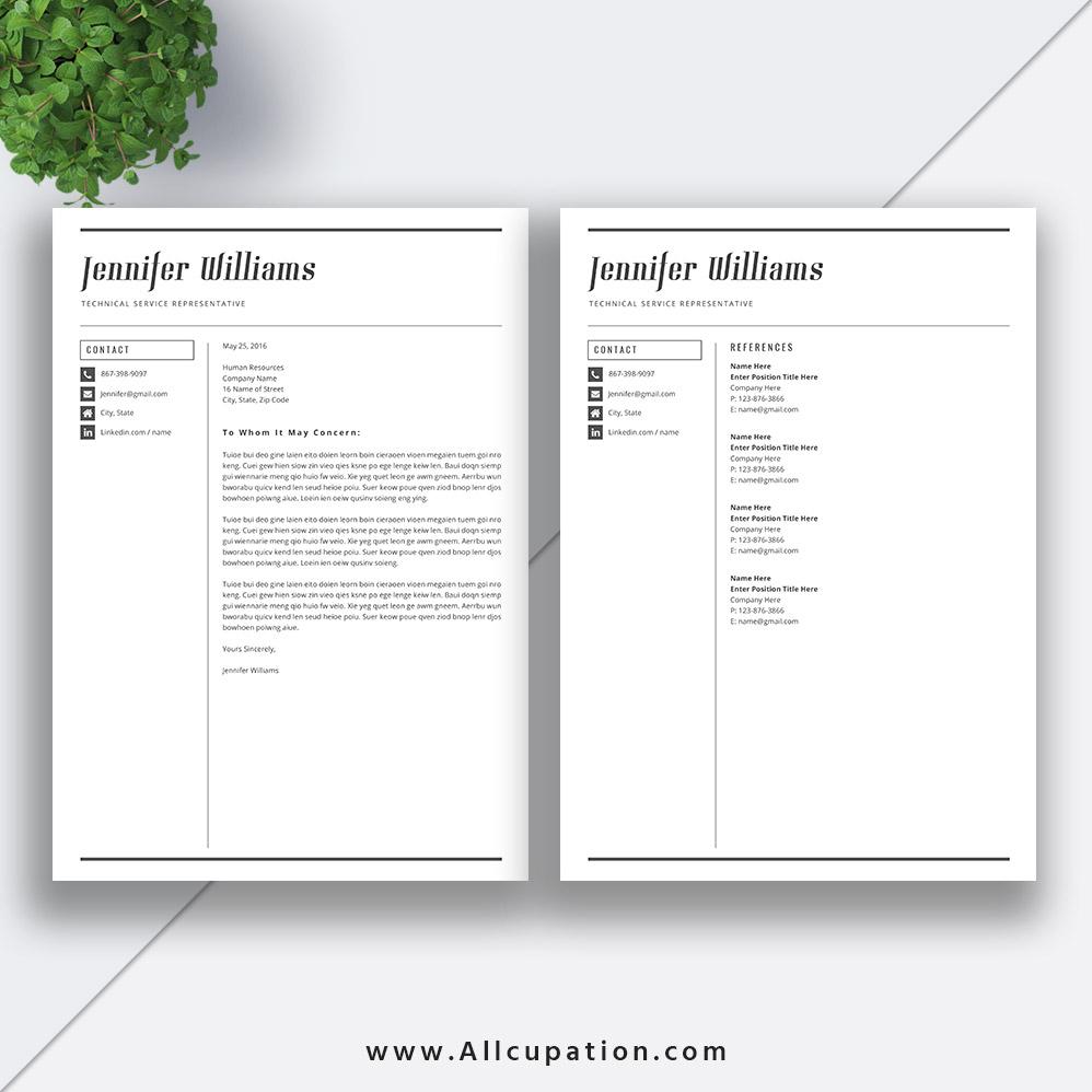 Creative Resume Template, Modern CV Template, Word ...