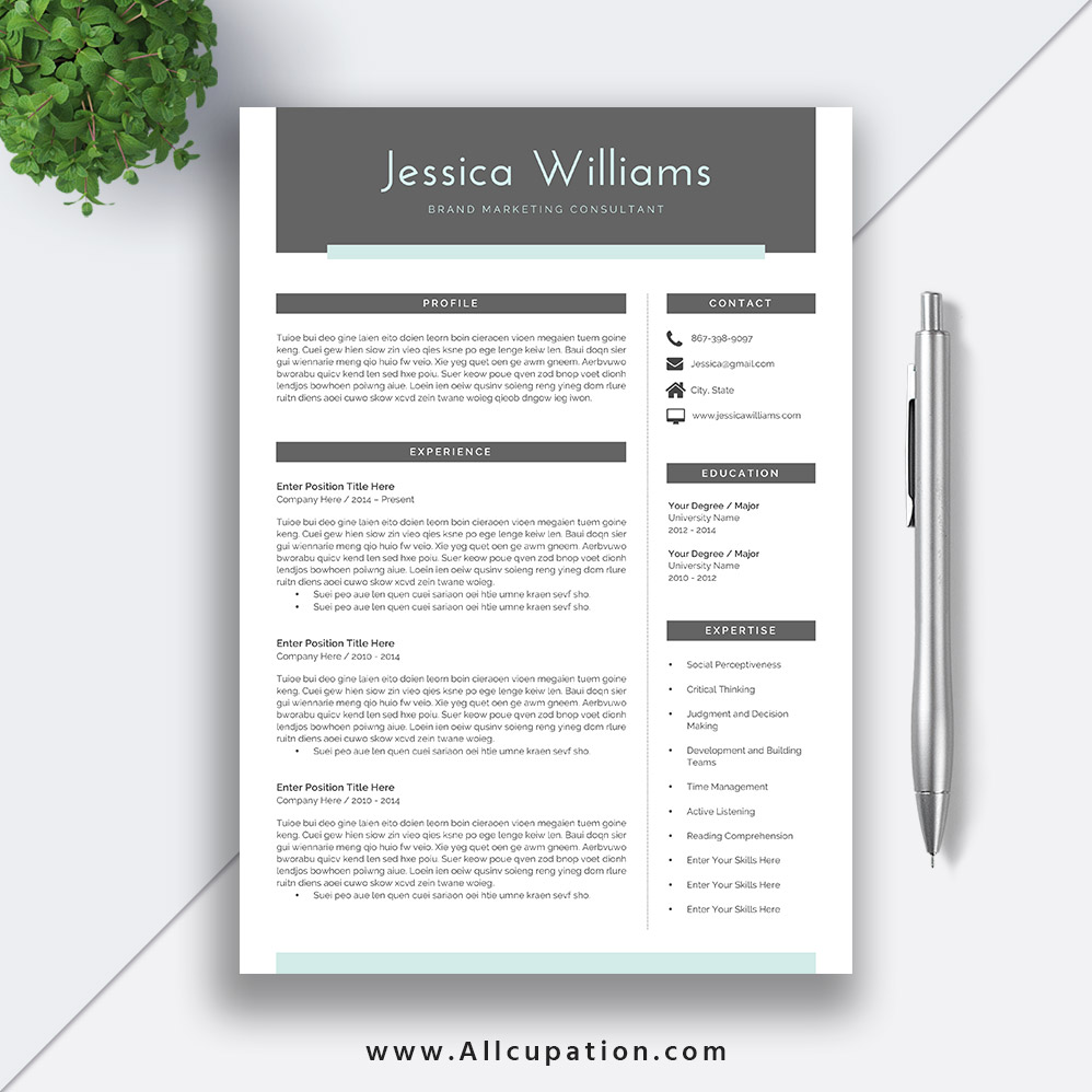 2019 Professional and Simple Resume Template Word, Job Resume Template  Download, CV Template 2 Pages, Cover Letter: Jessica
