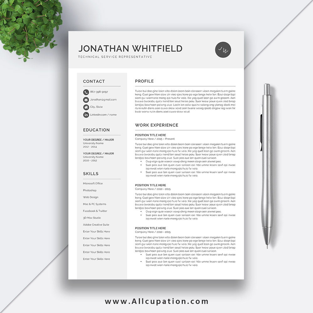 Creative Resume Template, Modern CV Template, Word, Cover